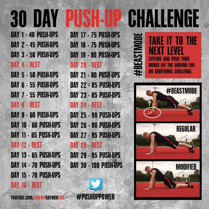 An intense 30-day push-up challenge for men.