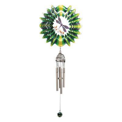 Metalen windgong die vrolijk tinkelt in de wind én een mooie windspinner erboven heeft hangen. Bestel snel bij huisentuinkado.nl