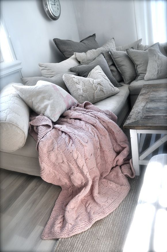 grays and soft pink for a cozy corner