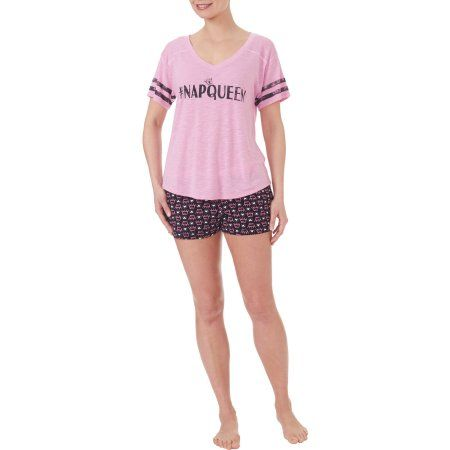 Secret Treasures Women's and Women's Screened Short Sleeve V-Neck Sleep Tee and Boxer Short Pajama 2 Piece Set, Size: XS, Pink