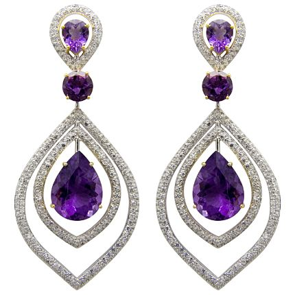 Butler & Wilson White Topaz and Amethyst earrings #earrings