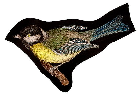 Great Tit  stained glass fragment от StainedGlassElements на Etsy