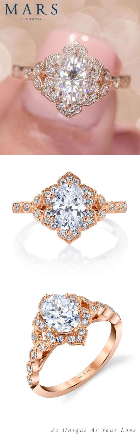 A floral motif engagement ring with a petal halo and scalloped diamond shank. Shown in Rose Gold with 1.00 Carat Oval center stone; center stone excluded from price. Side Stones: 0.23 Carat Weight Total. MSRP starting at $1205.00