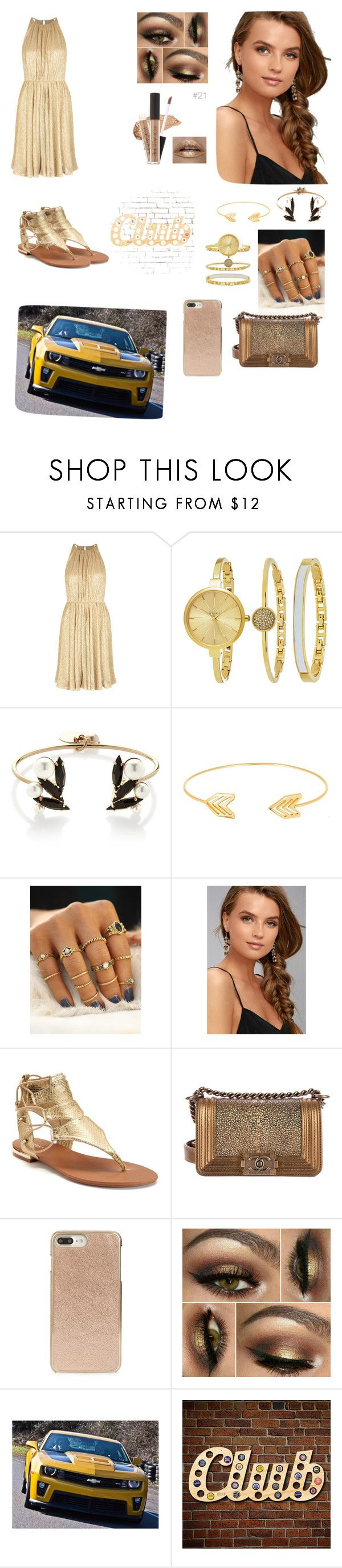 """""""Golden Time"""" by naomioliveira-1 ❤ liked on Polyvore featuring Halston Heritage, SO & CO, Anton Heunis, Lord & Taylor, LULUS, Apt. 9, Chanel and Kate Spade"""