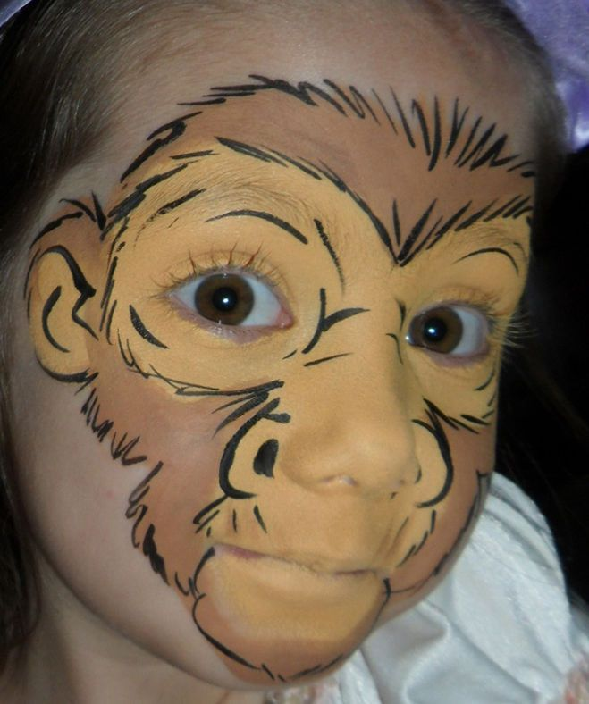 Как нарисовать на лице обезьяну, как сделать аквагрим обезьяны?