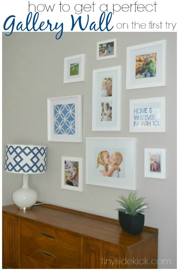Easy trick to a perfect gallery wall on the first attemtp.  || TinySidekick.com