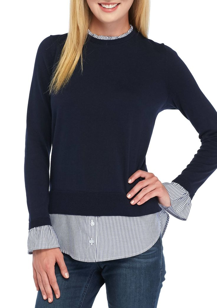 Better your basics collection with the trendy style of this must-have 2fer. The classic sweater design is taken to the next style level by its underlying shirt that adds a ruffle collar and extended hem, to create a perfectly put-together look that always stuns.