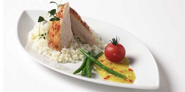 Chiliglasert kyllingfilet med gul paprikasaus -