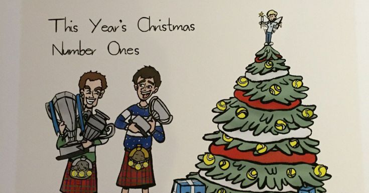 Andy and Jamie's mum posted a hand drawn picture of her two high achieving sons clutching their trophies by a Christmas tree dressed with tennis balls.