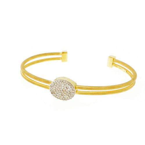 Isaac Reiss Designer Slip On Bangle Bracelet Two Row Diamond Center