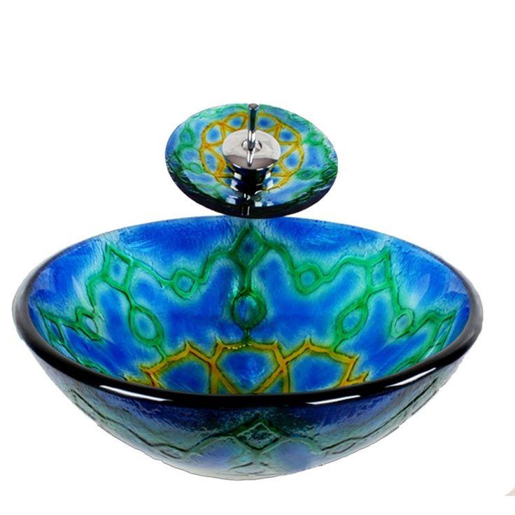 彩色上絵洗面ボウル&蛇口セット 洗面台 洗面器 手洗器 手洗い鉢 排水金具付 ハート柄 HAM021