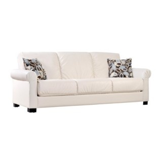 Comfortable and stylish, the transitional Portfolio Rio Convert-a-Couch futon sofa features rolled arms and converts into a full size bed with the touch of a hand. The futon sofa is covered in a durable ivory renu leather fabric.