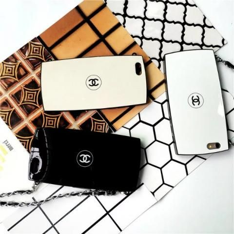 CHANEL アイフォン6Sカバー フェイスパウダーデザイン シンプル iPhone6s plus保護ケース ブランド品 チェーン付き ポップ風 親友とお揃いシャネルスマホカバー