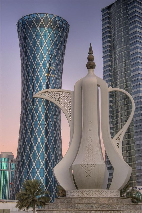 Doha, Qatar: Teapot Sculpture and Tornado Tower--hahaha