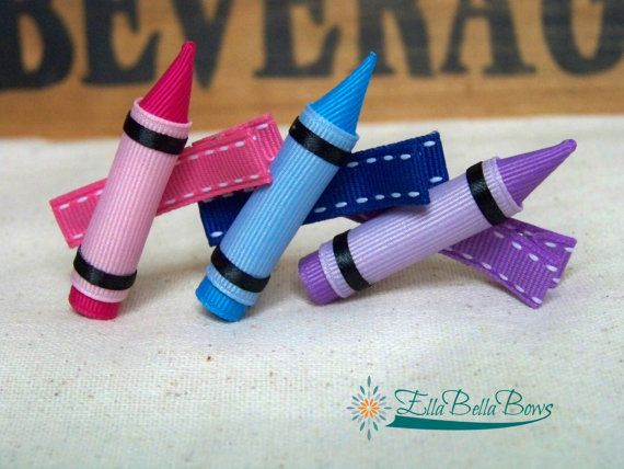 Ella Bella Bows has come up with this great hair bow for school age kiddos, the Crayon Hair Clip! #Handmade entirely out of ribbon, stiffened to ensure durability. All of your friends are sure to want one! :) #backtoschool