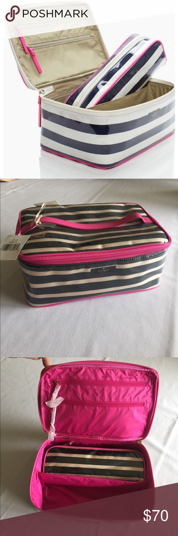 NWOT 🌟Kate Spade New York Lg Colin Cosmetic Case Vibrant colors and a sassy print brighten up a faille bag with a protective glossy coating. An included top-zip bag packs away into the case for on-the-go convenience. Black and cream two piece with hot pink trims 🌸 ✨Interior center divider; zip pockets. ✨PVC-coated polyester with leather trim. ✨By kate spade new york; imported. kate spade Makeup