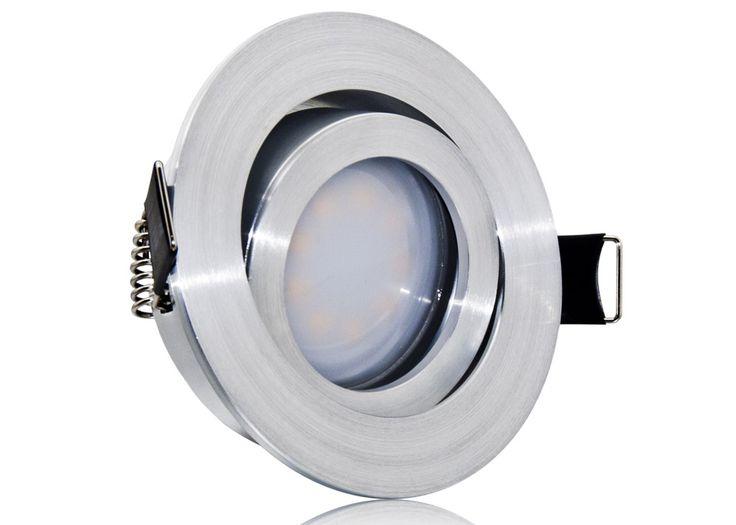 LED Einbaustrahler Set extra flach mit Marken Flat LED Spot LcLight 5 Watt Aluminium Feinschliff Rund Dimmbar 40 Watt Ersatz