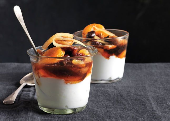 Dried Fruit Compote with Ginger Syrup  Serve this simple compote with yogurt for breakfast, or spoon it over ice cream for dessert.