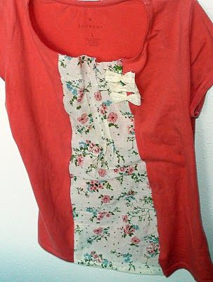 """Sisterhood of the Crafty Pants  """"I had this boring ol' tee with a neckline I don't like on me and a little too snug for my taste. So rather than throwing it out, I decided to try and jazz it up a bit."""""""