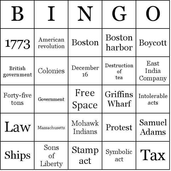The Boston Tea Party...Bingo game