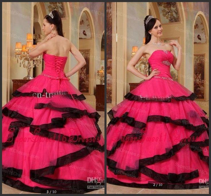 Привлекательный минимальный уровень длина без бретелек вышивка бисером блёстки кристалл фуксия и черный корсет бальное платье принцесса пышное платье