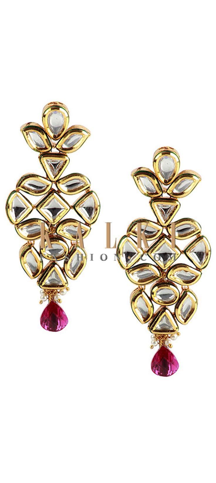 Buy Online from the link below http://www.kalkifashion.com/kundan-polki-studded-danglers.html