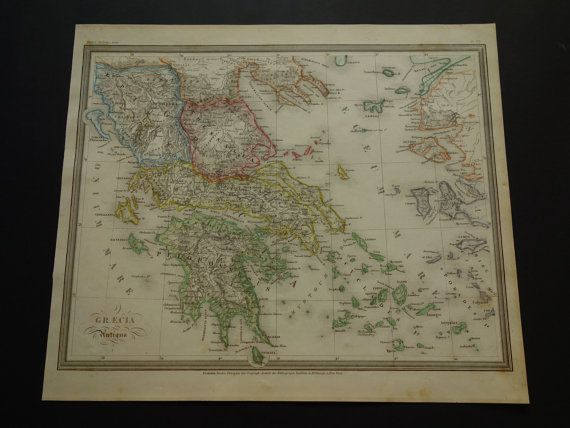 Greece old map 1850 original hand colored by VintageOldMaps