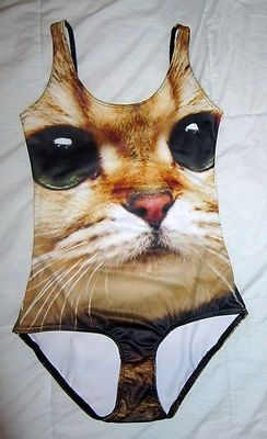 Awkward cat swimsuit, for the crazy cat lady...