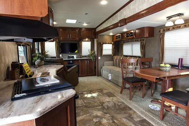 The luxurious interior of a recreational vehicle. (Credit: Dan Gleiter/PennLive.com)