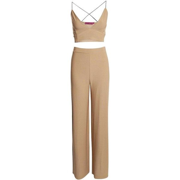 Petite Gracie Bralet Palazzo Trouser Co-ord ($1.56) ❤ liked on Polyvore featuring pants, petite trousers, petite palazzo pants, men pants, womens trousers and palazzo pants
