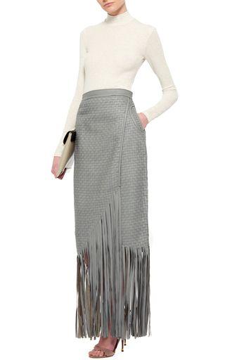 Haiiro Fringed Leather Skirt by JOHANNA ORTIZ Now Available on Moda Operandi