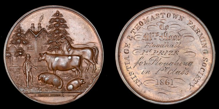 Inistioge & Thomastown Farming Society, a copper award medal by I. Parkes, named (To Mrs Flood, Floodhall, 1st Prize, for Ploughing in 1st Class, 1861)