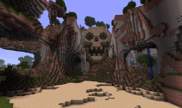 minecraft skull mountain skull statue