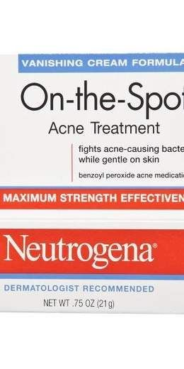 "Neutrogena On-The-Spot Acne Treatment: ""It provides the right balance of benzoyl peroxide, a favorite acne treatment ingredient among dermatologists, in a base that won't irritate the skin—or the wallet,"" says Mary Gail Mercurio, MD, professor of dermatology at the University of Rochester Medical Center."