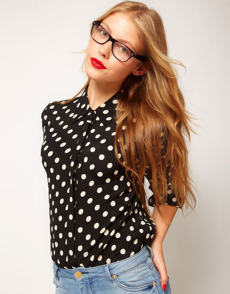 Love her specs...and the polka dots:): Red Lipsticks, Dots Shirts, Blouses, Hair Colors, Polka Dots, Glasses, Polkadots, Spots Prints, Geek Chic