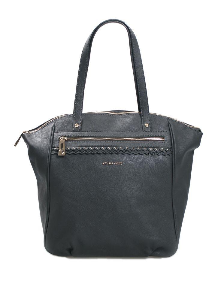 Borsa shopping TWIN SET by SIMONA BARBIERI in ecopelle colore grigio piombo, chiusura a zip, tasca esterna a zip, interno foderato con logo e tasca a zip, manici.