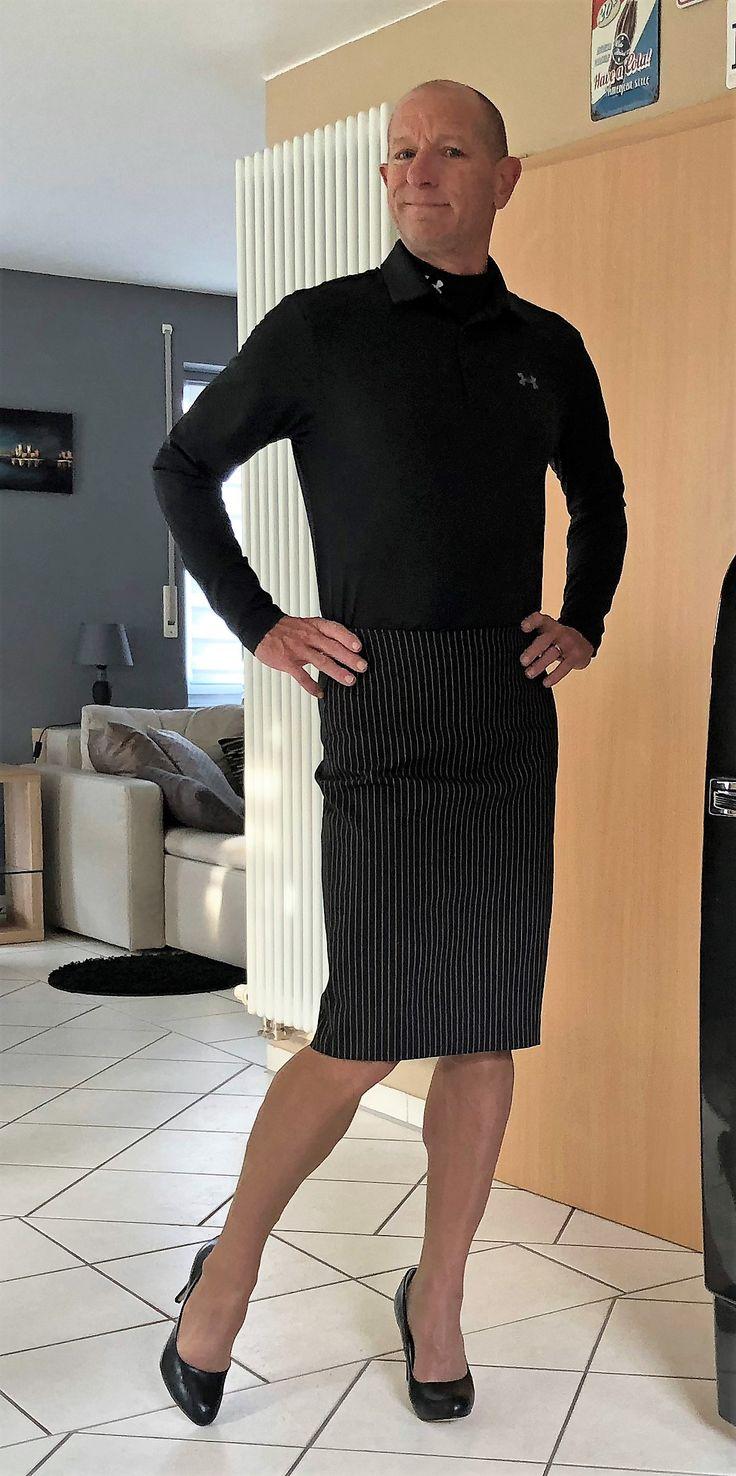 Man in Skirt, men in skirts and heels, men in skirts, men in skirts and heels Polo Shirt, Black Striped Skirt, Black Heels