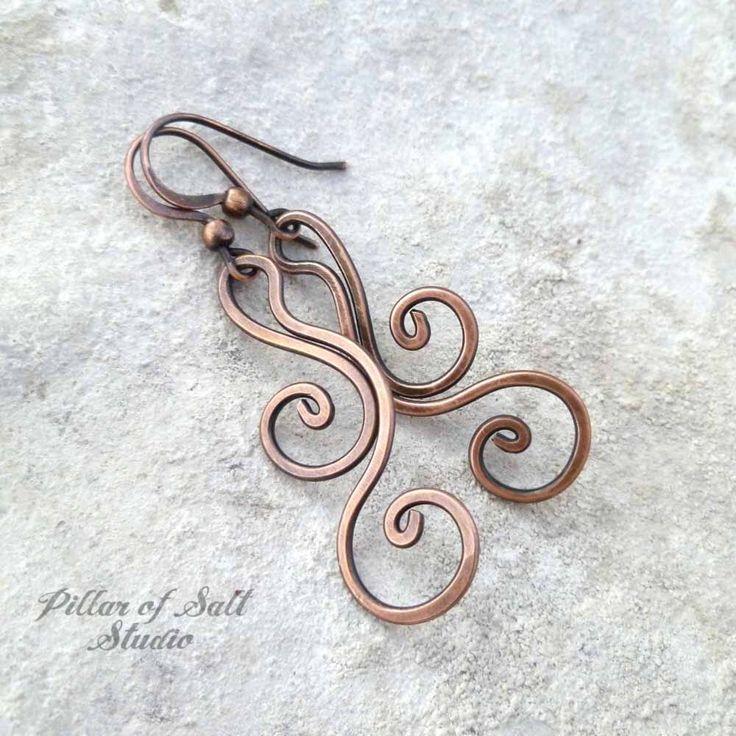 Solid copper earrings - Wire wrapped earrings - wire wrapped jewelry handmade - wire jewelry - earthy rustic copper dangle flourish spiral by PillarOfSaltStudio on Etsy https://www.etsy.com/listing/275017946/solid-copper-earrings-wire-wrapped