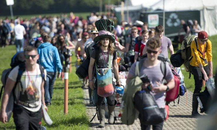 Glastonbury 2015 Revellers Arriving To The Festival