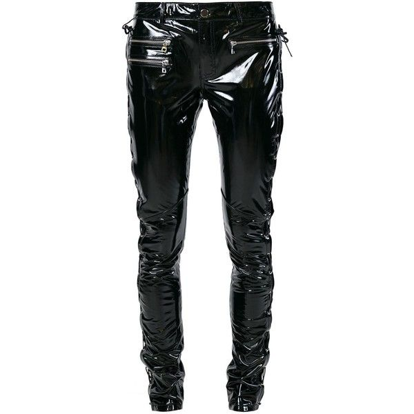 Filles A Papa PVC Trousers (£220) ❤ liked on Polyvore featuring pants, black, pvc pants, black trousers and black pants