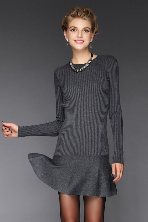 Slim knitted wool skirt