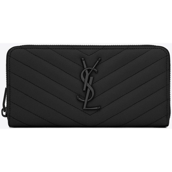 Monogram Saint Laurent Zip Around Wallet (3.015 RON) ❤ liked on Polyvore featuring bags, wallets, black bag, real leather wallet, yves saint laurent wallet, yves saint laurent and monogrammed wallet