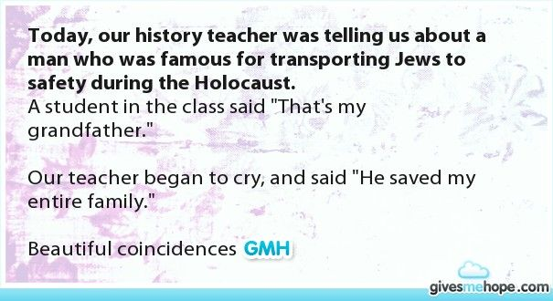 Today, our history teacher was telling us about a man who was famous for transporting Jews to safety during the Holocaust.