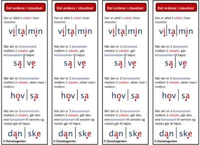 Nogle elever kan blive usikre når de møder lange ord. De kan have glæde af at anvende stavelsesdeling som læsestrategi. Jeg har lavet bogmærker med de mest grundlæggende regler for stavelsesdeling, så eleverne har dem lige ved hånden, mens de læser.