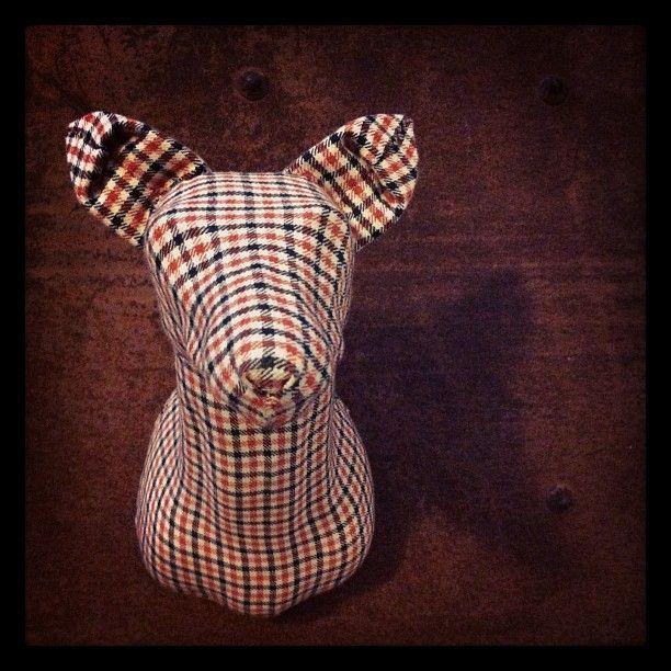Flannel Fox (Orange) - Small #orange #plaid #fabric #taxidermy #fauxtaxidermy #mkd #theworkofmkd