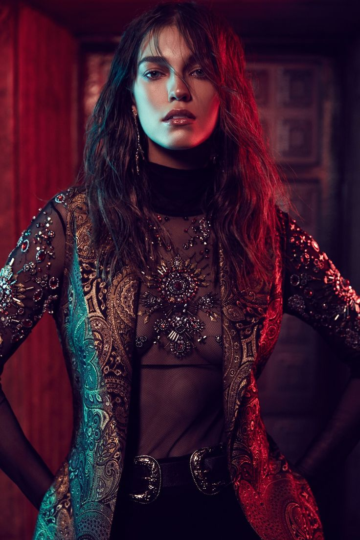 Nasty Gal Show Off Beaded Mesh Bodysuit, Nasty Gal Go for Baroque Maxi Vest, I Still Love You NYC Luxe Cross Earrings