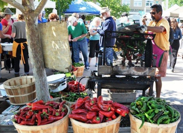 Chiles roasting at the Santa Fe Farmers Market, photo Steve Collins