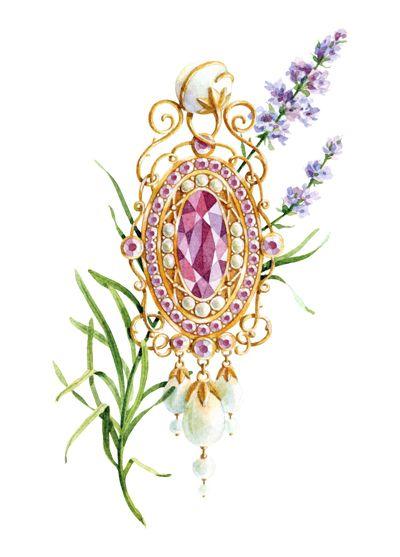 jewelry sketch, watercolor by Natalia Tyulkina, via Behance