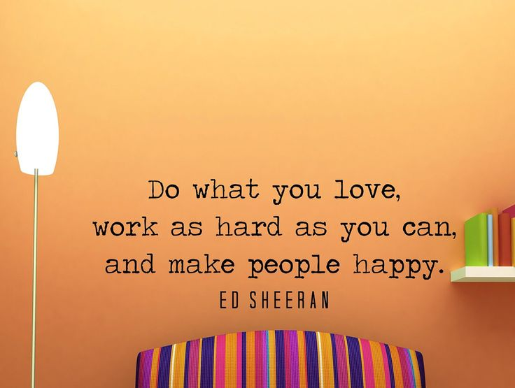 "Ed Sheeran Quote Inspirational Wall Decal Typography Home Décor ""Do What You Love"" 42x15 Inches"