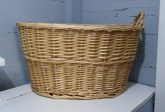 Vintage Wicker Laundry Basket Large Oval Clothes Basket Hamper